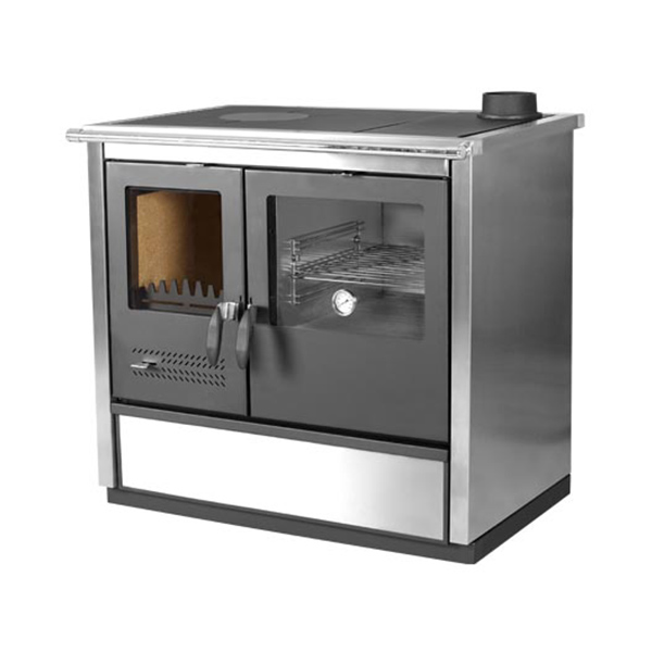 The North Wood Burning Cook Stove can be used as either an Outdoor or Indoor Cook Stove. NORTH wood cook stove is an elegant, modern cook stove made of Stainless steel or sides are anthracite black, produced in versions with left, right, upper and back flue exhaust, which enables easier connection with chimney.